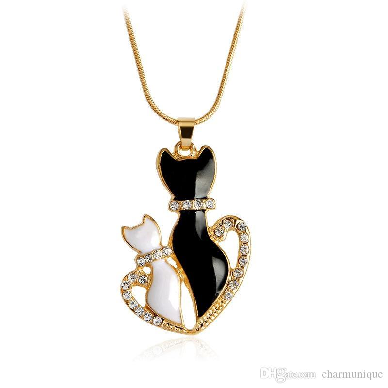 Trendy Crystal Cute Animal Choker Necklace Fashion Love Heart Black White Cat Necklaces & Pendants For Women Girl For Best Friend Gift
