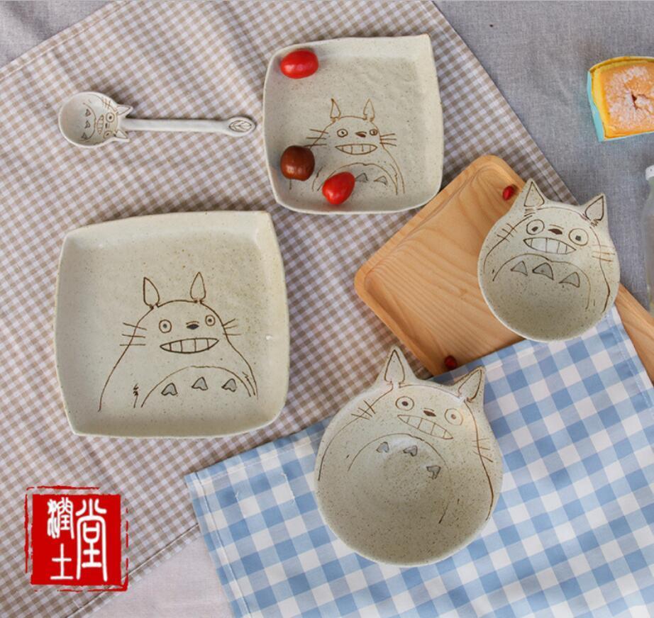 articoli per la tavola in ceramica set da tavola in ceramica set utensili per la casa creativo drago gatto piatto da dessert ciotola dipinte a mano e cucchiaio