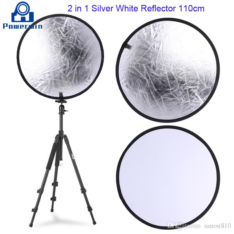 Powerwin 2 em 1 110 centímetros branco de prata refletor redonda dobrável Disc Photo Studio Vídeo Iluminação Difusor Softbox de Fundo Suporte de Iluminação