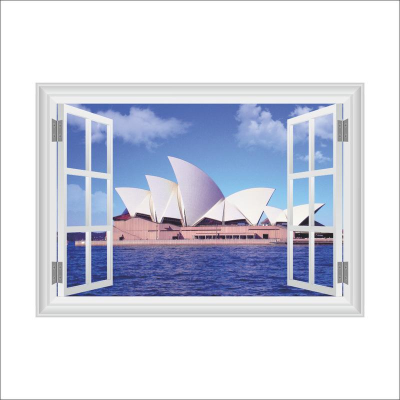 3D Wall Stickers Home Wall Decor Sydney Opera House Kids Room Bedroom Decoration False Window Poster Mural Wallpaper Wall Decals