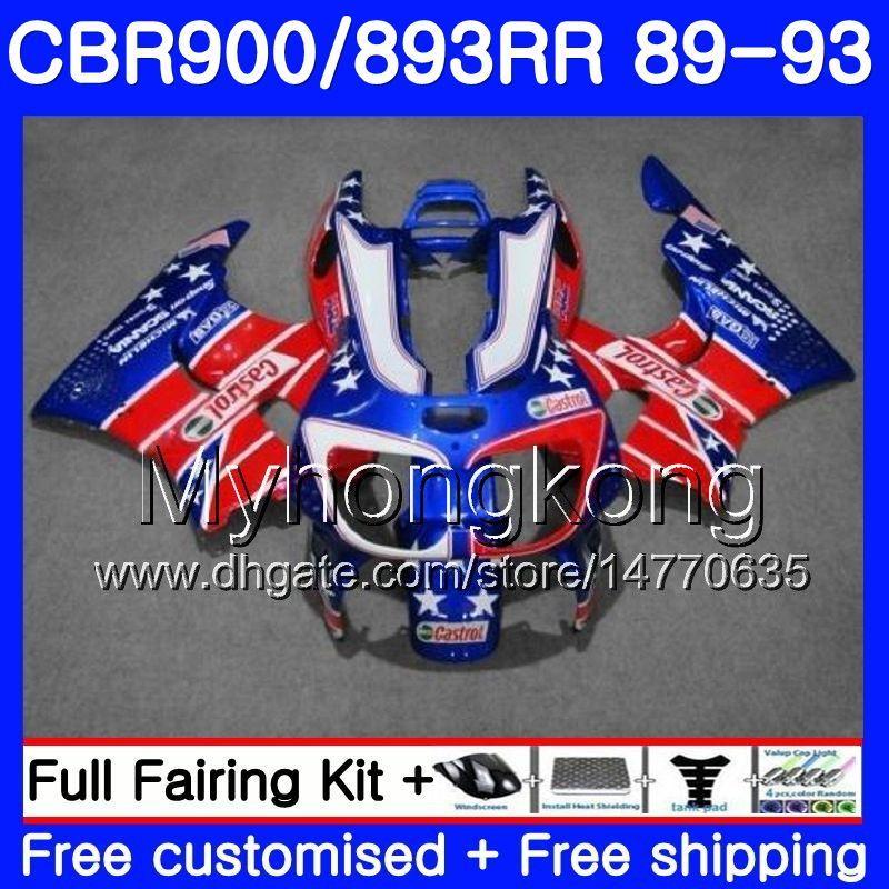 Кузов для HONDA CBR 900RR светло-красный синий 893RR CBR900RR 1989 1990 1991 1992 1993 253HM.34 CBR893 CBR900 RR CBR893RR 89 90 91 92 93 обтекатель