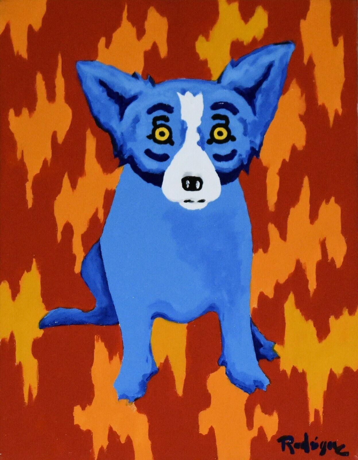 George Rodrigue Blue Dog Signed-Grafik 2003 Wohnkultur Handbemalte HD-Druck-Ölgemälde auf Leinwand-Wand-Kunst-Leinwandbilder 200111