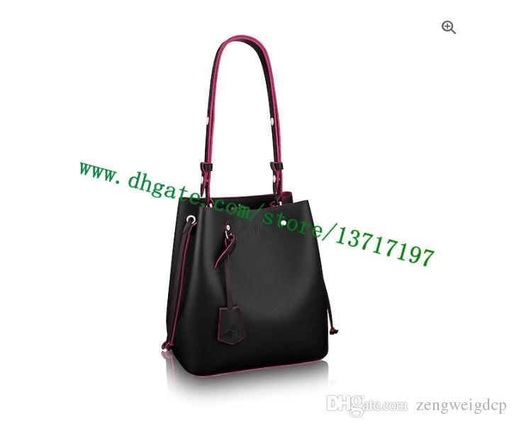 Pelle grado superiore Lady reale Vitello Handbag M54677 LOCKME SECCHIO Donne Borsa a tracolla nera