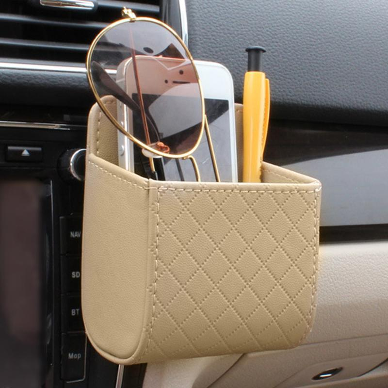 nterior Accessories Stowing Tidying Car Outlet Vent Seat Back Tidy Storage Box PU Leather Coin Bag Case Pocket Organizer Hanging Holder P...