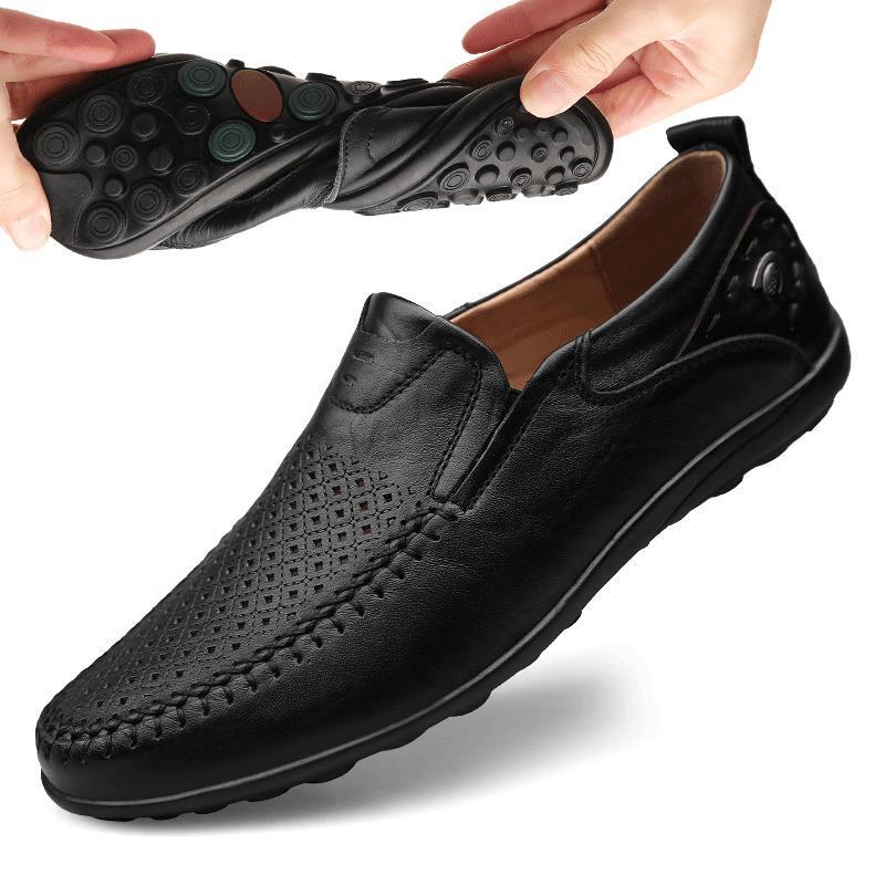 Hombres Zapatos italianos verano ocasional hombres del cuero genuino de los holgazanes de los mocasines resbalón en los zapatos Pisos transpirable masculino de conducción de los hombres de BTMOTTZ CX200620