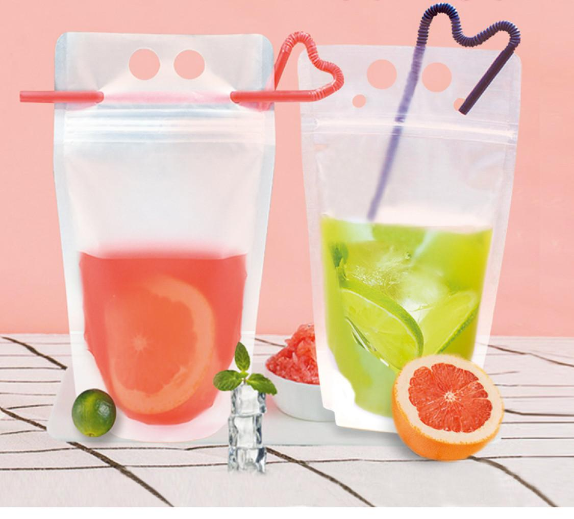 DHL Ship 100pcs Clear Drink Pouches Bags frosted Zipper Stand-up Plastic Drinking Bag with straw with holder Reclosable Heat-Proof 17oz