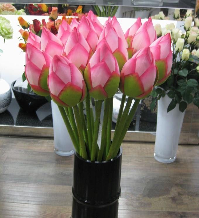 Fleur artificielle Vivid 78cm Artificail Silk Lotus Bud Hôtel And Restaurant Fleur décorative artificielle étang Plant Simulation EEA549