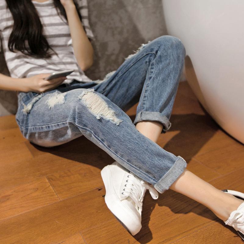 Printemps 2019 nouvelle version coréenne de pantalons pour femmes lavé des trous dans des jeans d'eau mendiants pantalon de neuf minutes pantalon décontracté pour dames