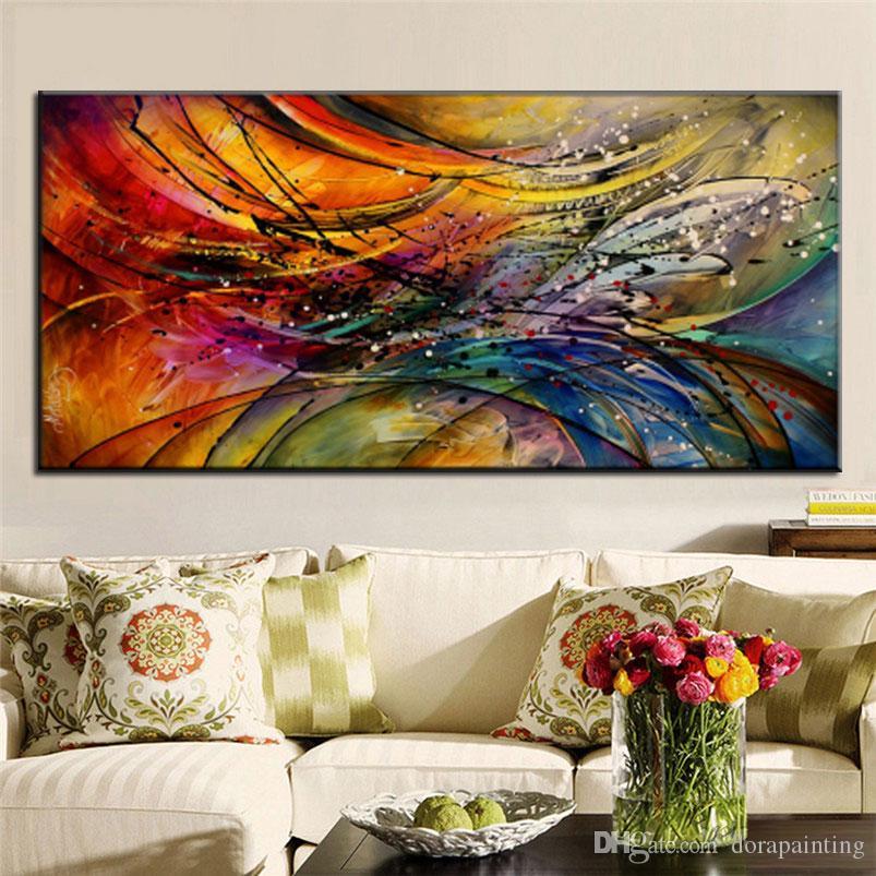 HD soyut renkli afiş parlak Tuval yağlıboya tablolar büyük dekoratif Wall Art Resim boyama, modern soyut yağ baskılı