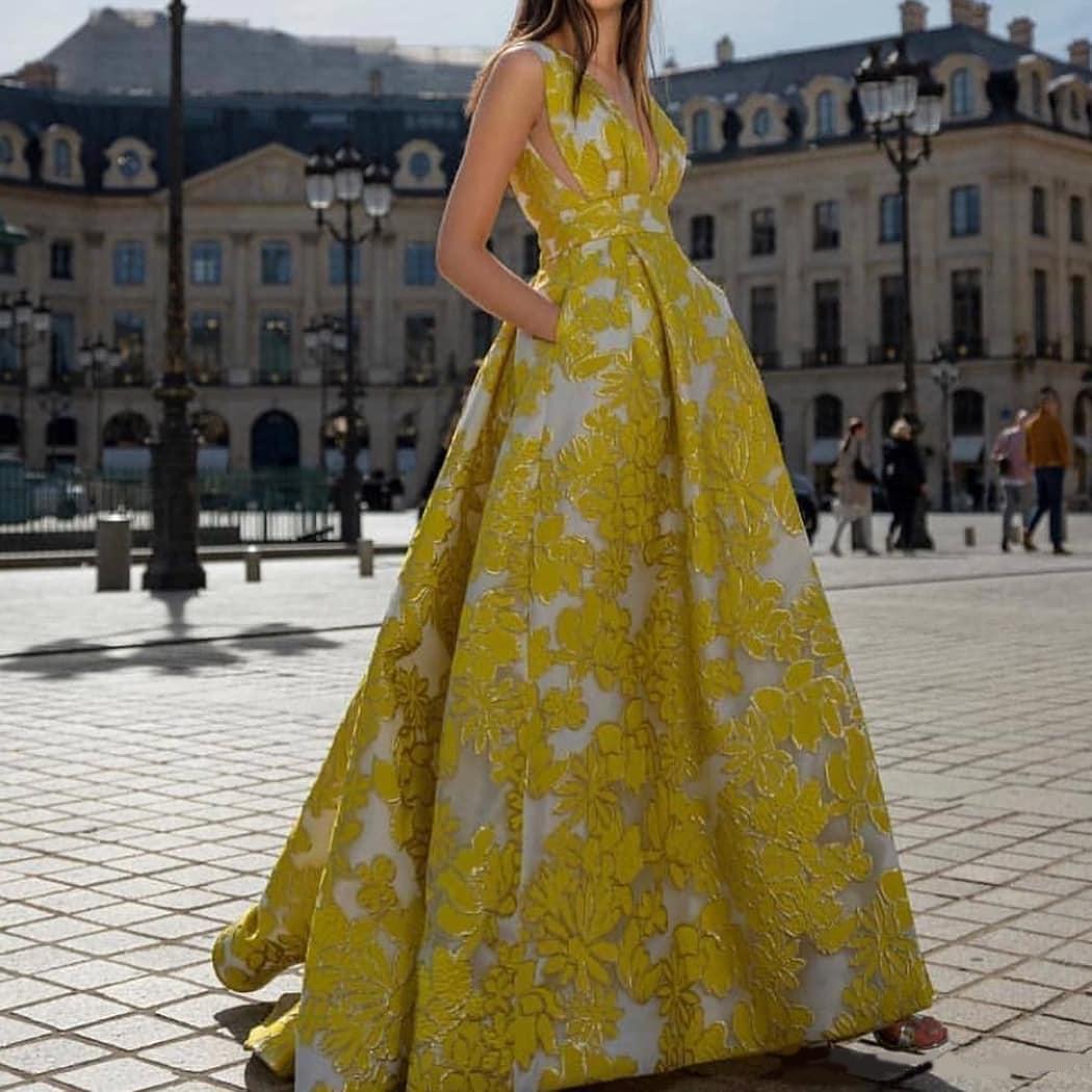2020 Ligne Sexy élégant Jaune Une soirée Robes Plus Size Robes de soirée Tenue de soirée robe de soirée Tapis rouge robe de soirée Abendkleider