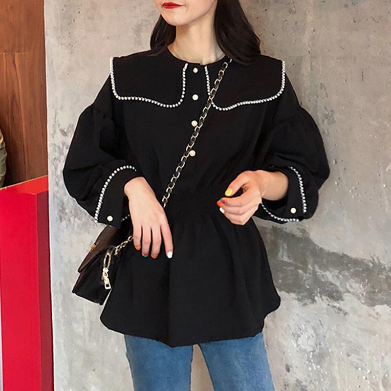 2020 Doux Peter Pan Col Femmes Noir Blouse Printemps Automne À Volants Ourlet Perles En Mousseline De Soie Tops Chemises Pour Femme Mode Blusas