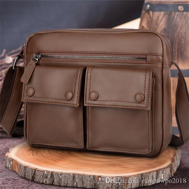 Factory wholesale men handbag outdoor casual leather men diagonal retro waterproof waxed leather messenger bag simple leather shoulder bag