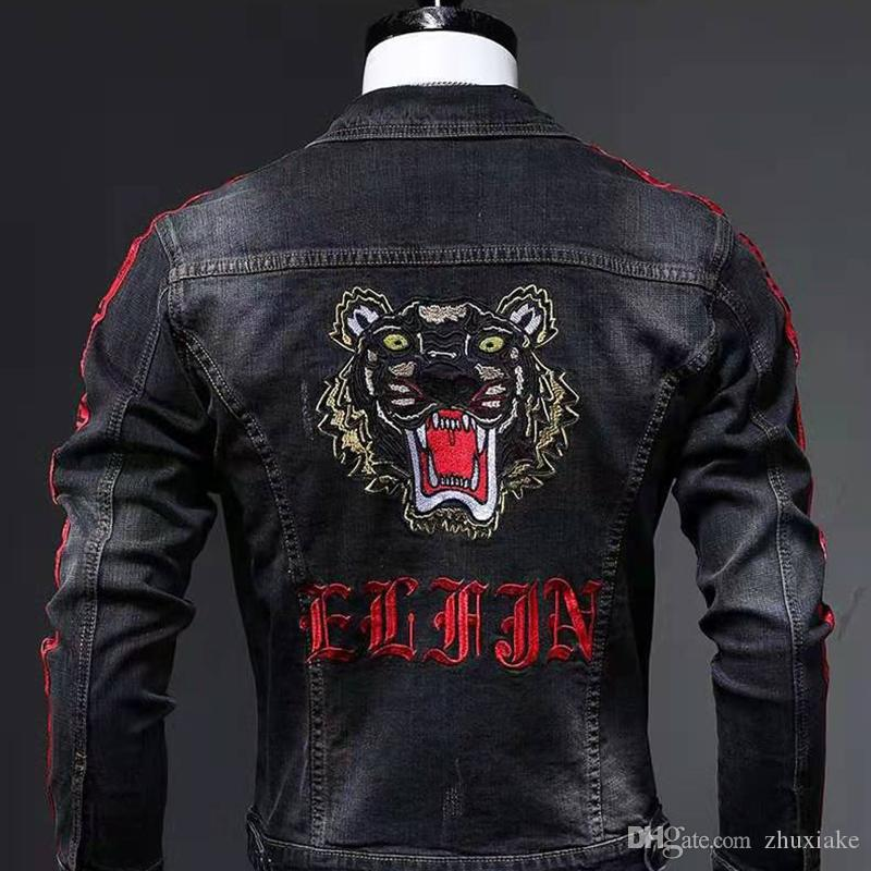 ZXK Mens 2019 Designer Coats Inverno Luxo Preto Jacket mangas compridas roupas bordados Para Pattern Tiger Man