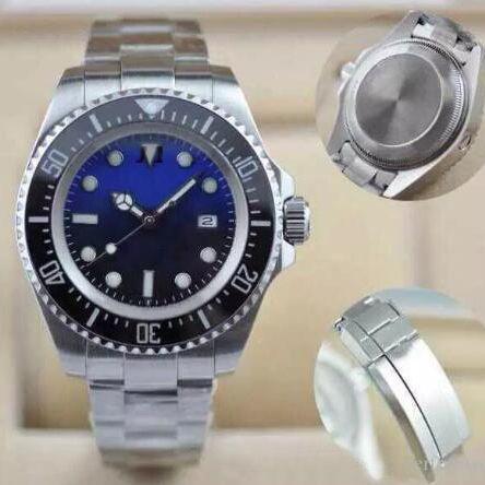 Azul Black Dial Luminous Relógio D-Weller Rotatable Cerâmica Bezel 44mm Aço Inoxidável 116660 BLSO Automatic Divers Mens Relógios Relógios