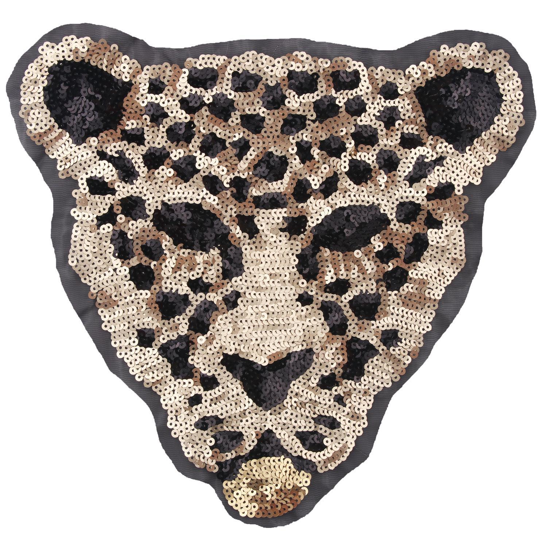 Novos desenhos animados grandes lantejoulas animais leopardo tigre bordado pano remendo costurar em roupas acessórios decoração