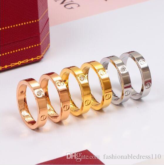 2020 Nova Boutique 316L amor Aço TitaniumCARTIER Unhas Anéis dos amantes da banda Anéis Tamanho para mulheres e homens Jóias NO Box Original