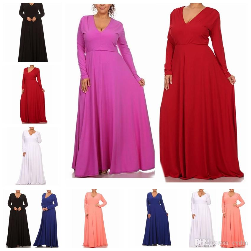 European fashion solid color sexy V-neck long sleeves loose dress white, red, black, blue support mixed batch