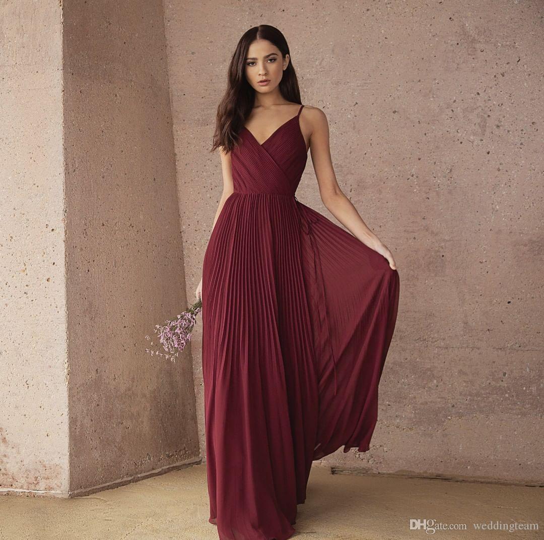 Bourgogne pas cher robes de demoiselle d'honneur plissée Une ligne V Cou mariage robe de mariée rez-de-chaussée mousseline de soie demoiselle d'honneur robes