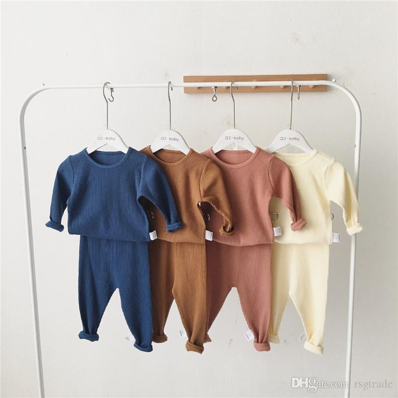 INS Summer Fall Toddler Kids Boys Girls Pajamas Suits Long Sleeve Blank Tshirts + Pants 2pieces Suits Cotton Quality Kids Clothing Sets