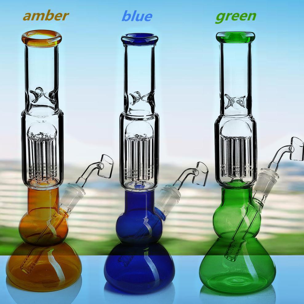 12.2 inchs Tall Beaker bong Downstem Perc Smoking Pipes Chicha Glass Water Bongs Hookahs Glass Bubbler Oil Rigs With 14mm Banger