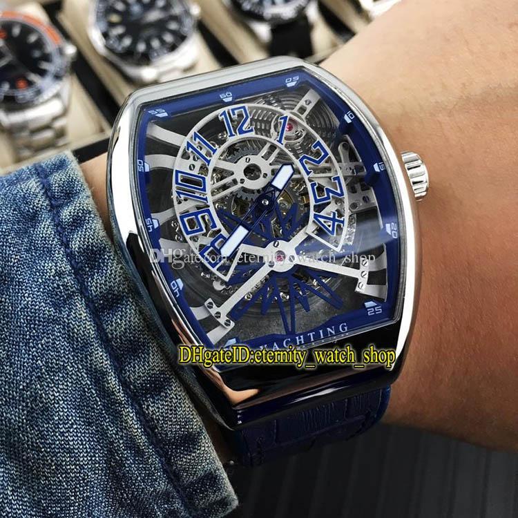 VANGUARD YACHTING GRAVITY V45 T GR YACHT SQT Blaus Skeleton Dial Automatik Herren-Uhr-silberne Stahl-Kasten-Leder-Gummiband-Sport-Uhren
