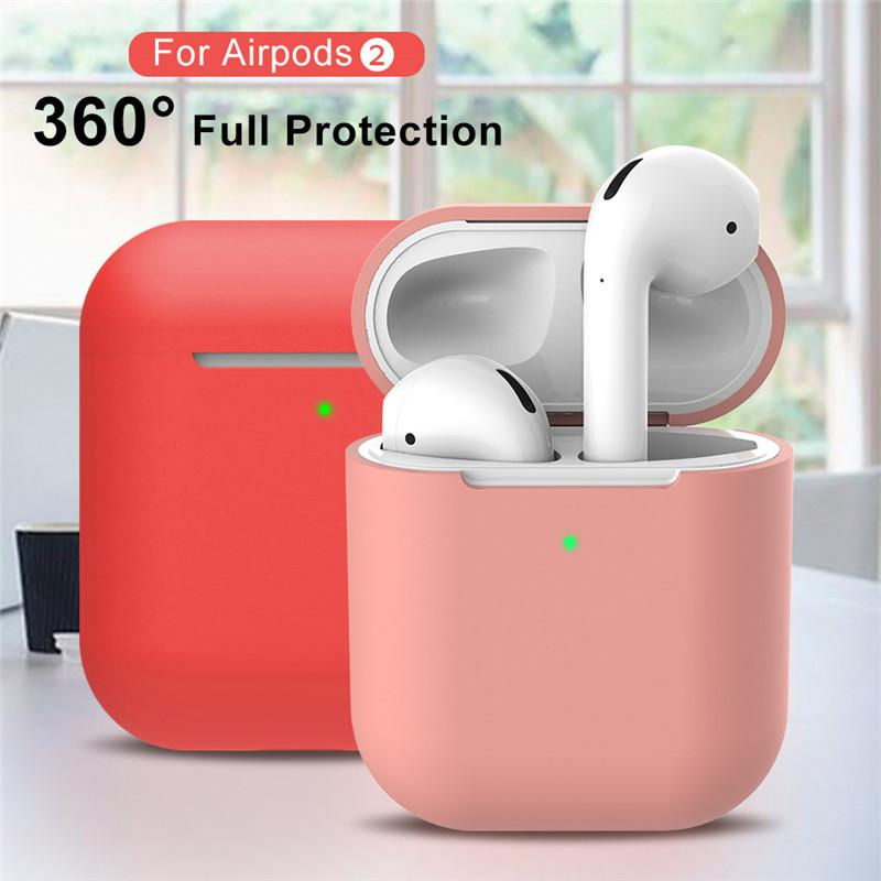 Für AirPods 2 Headset Fall 17 Farben Silikon-Ohrhörer-Abdeckung für Apple-Kopfhörer 360-Grad-Schutz Kopfhörer Shell