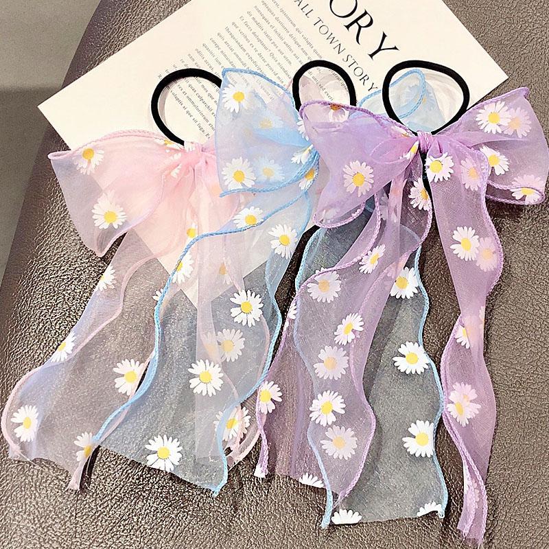 2020 Nuovo dolce di estate chiffon nastro dell'arco fascia del fiore del supporto del Ponytail Carino ornamento dei capelli Elastico Accessori di moda dei capelli