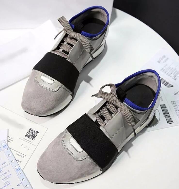 Más nuevo diseñador Nombre Marca Hombre Mujer Zapatos Pisos Chaussure Moda Desnudo Malla de cuero Negro con cordones Trainer Zapatos casuales
