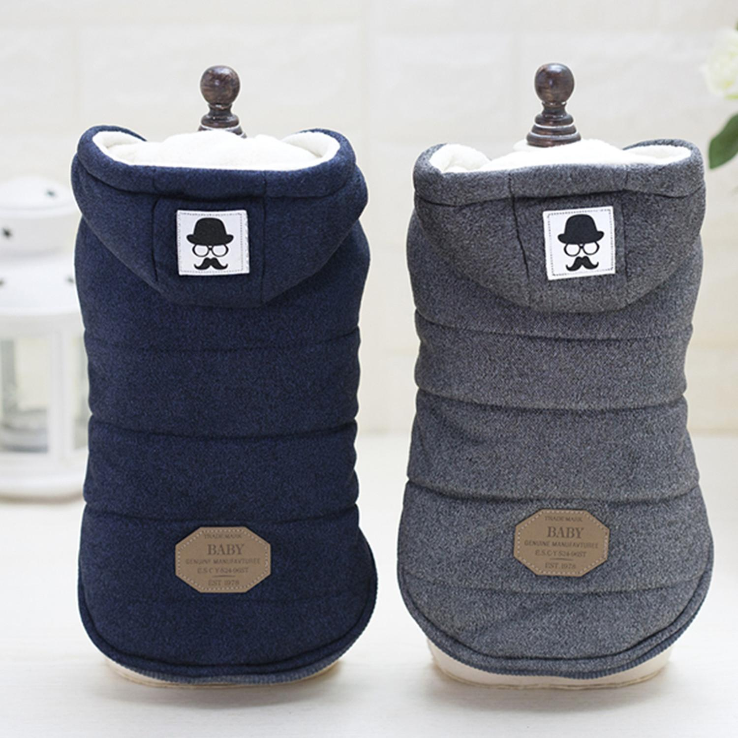 Vest dog clothes autumn and winter fashion pet clothes mustache cotton velvet hooded two legs clothes Teddy puppy new style