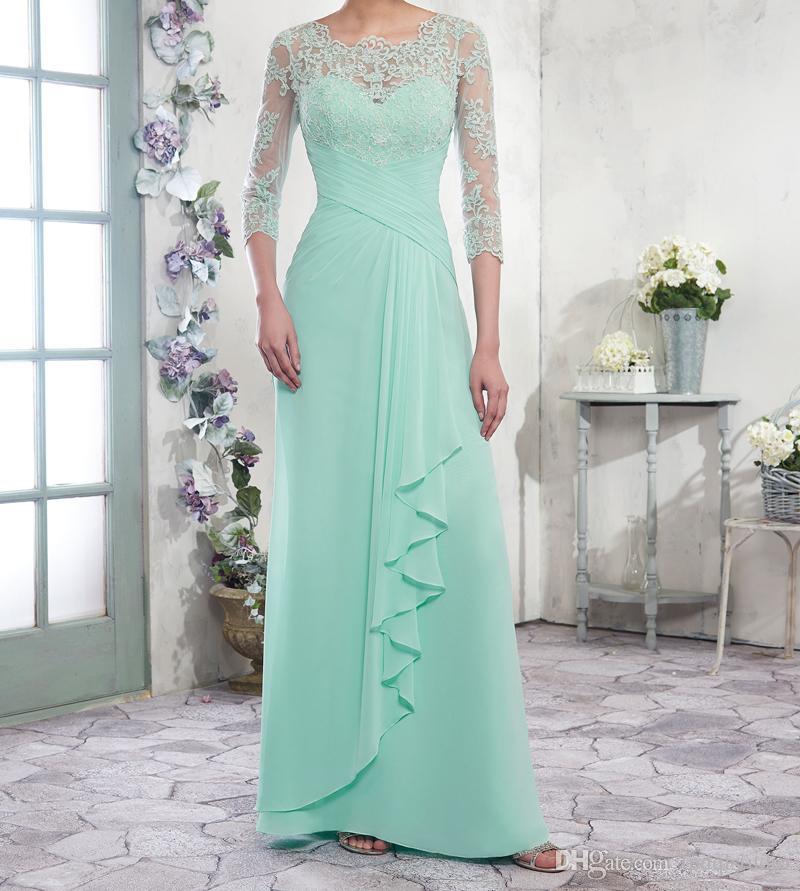 Chiffon A-Linie Mutter der Braut Kleider Scoop Reißverschluss mit Knöpfen Zurück bodenlangen faltet elegante Abendkleider formale
