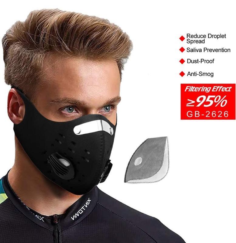 Велоспорт маска для лица анти-загрязнение PM2. 5 угольный фильтр, неопрен унисекс пыль загрязнения моющиеся ветрозащитный или велосипед, Велоспорт, Спорт