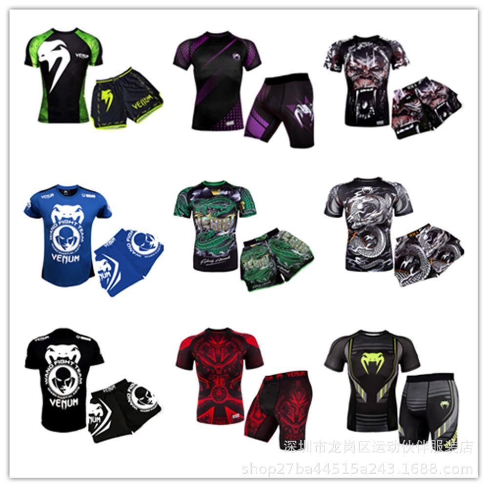 Mma Combat Venom culturisme combat avec un short T-shirt Pantalon de survêtement Motion Run Boxe Combat libre Ufc Thai Boxing Costume manches courtes