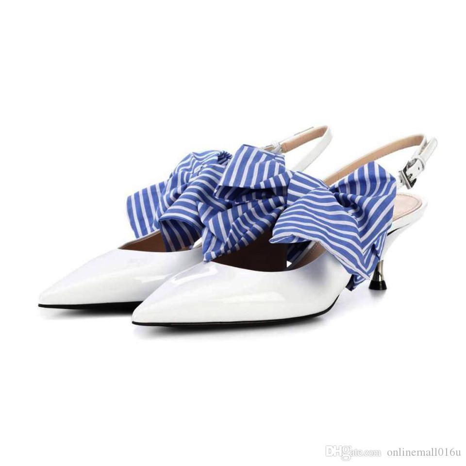 Котенок каблуки указал туфли женщина большая бабочка узел туфли на высоком каблуке белая кожа насосы женская обувь