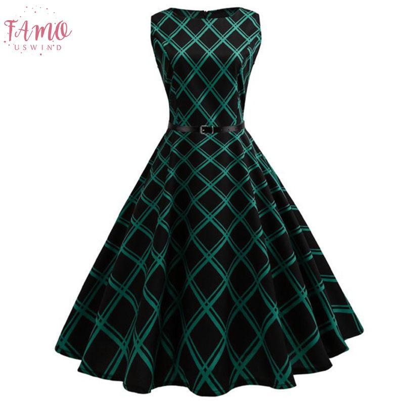 Robe imprimé floral Femmes d'été Hepburn 50s 60s Robe trapèze MILLÉSIME Party Line robes avec ceinture Jurken Plus Size