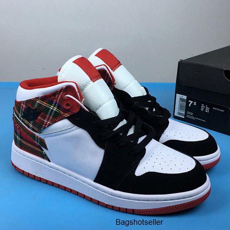 Kaliteli Bayan Trainers 1s Günlük Spor SneakersJumpman 1 WHI için 2020 Yeni Geliş Jumpman 1 Orta Noel Kırmızı Spor Çocuk Basket Ayakkabısı