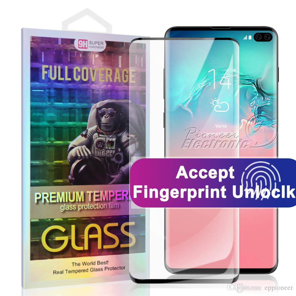 For S10 5G VERSION Samsung NOTE 10 S10 S9 S9 Plus S10E S7 edge 5D Full Coverage fingerprint unclock NO HOLE Tempered Glass Screen Protector