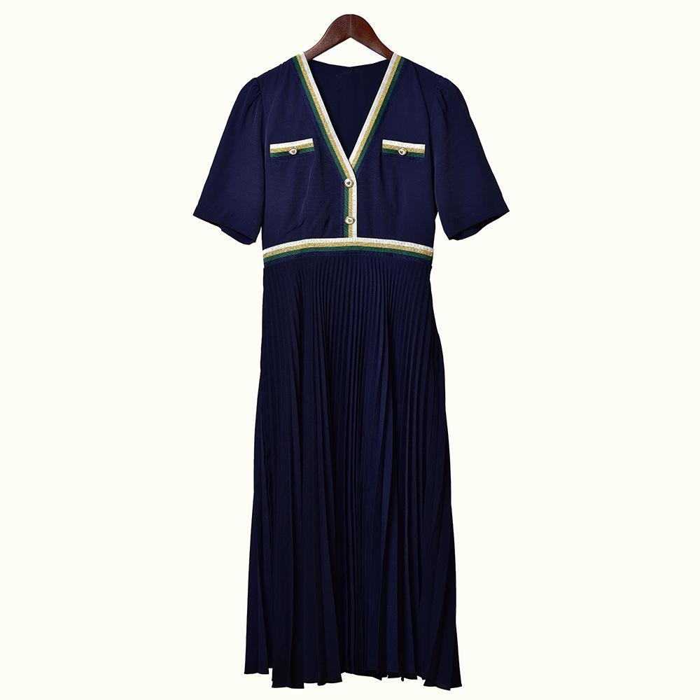 2020 Primavera verão manga curta v pescoço azul / branco contraste colorido painéis plissados meados vitela vestido mulheres vestidos de moda w1815008