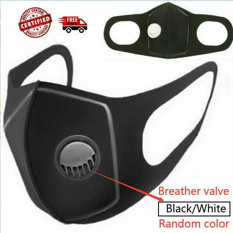 Atacado máscara facial de purga máscaras máscaras de filtro de ar de poeira haze Máscara lavável Mulheres Homens Máscara Facial válvula Cor Preto