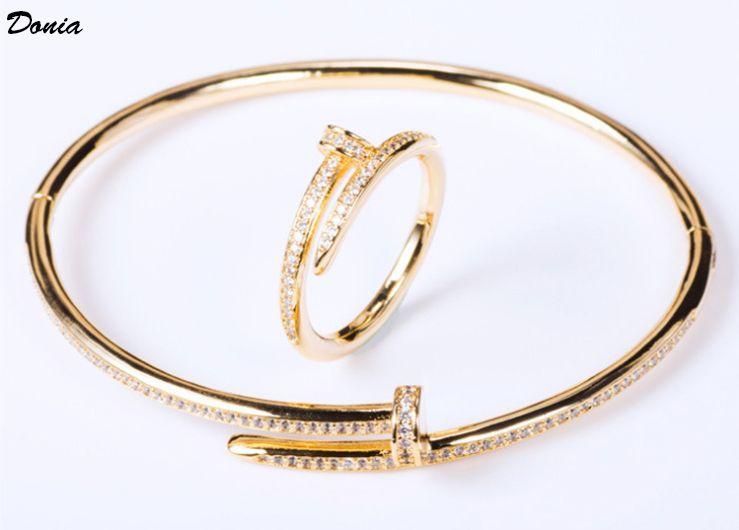 Donia gioielli partito europeo e moda americana grande classico cardi in miniatura geometrica intarsiati braccialetto di Zirconia dell'anello del braccialetto delle donne stabilite