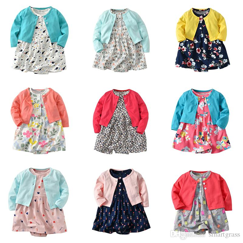Baby Girl Two Piece Dress Sets Autumn 2020 Long Sleeve Cardigan and Cotton Floral Outfits 12 Design Style Baby Girl Clothes Sets 18013101