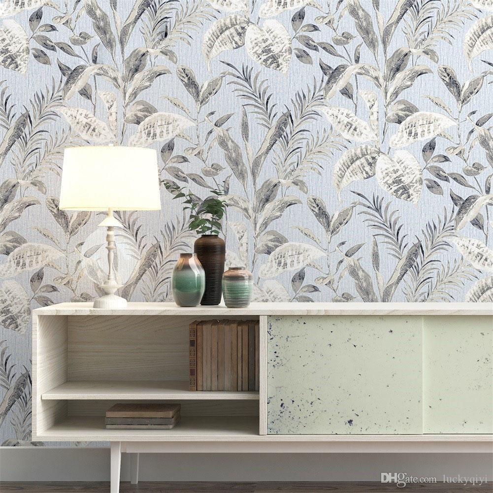 Vintage American pastoral twig leaf mottled texture non-woven wallpaper mould-proof bedroom living room TV background wall paper