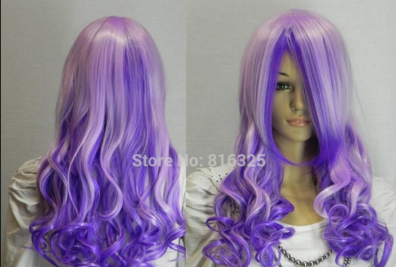WIG ZCD FREE P&P> nNew4 PURPLE MIX LONG CURLY COSPLAY FULL WIG Discount35%