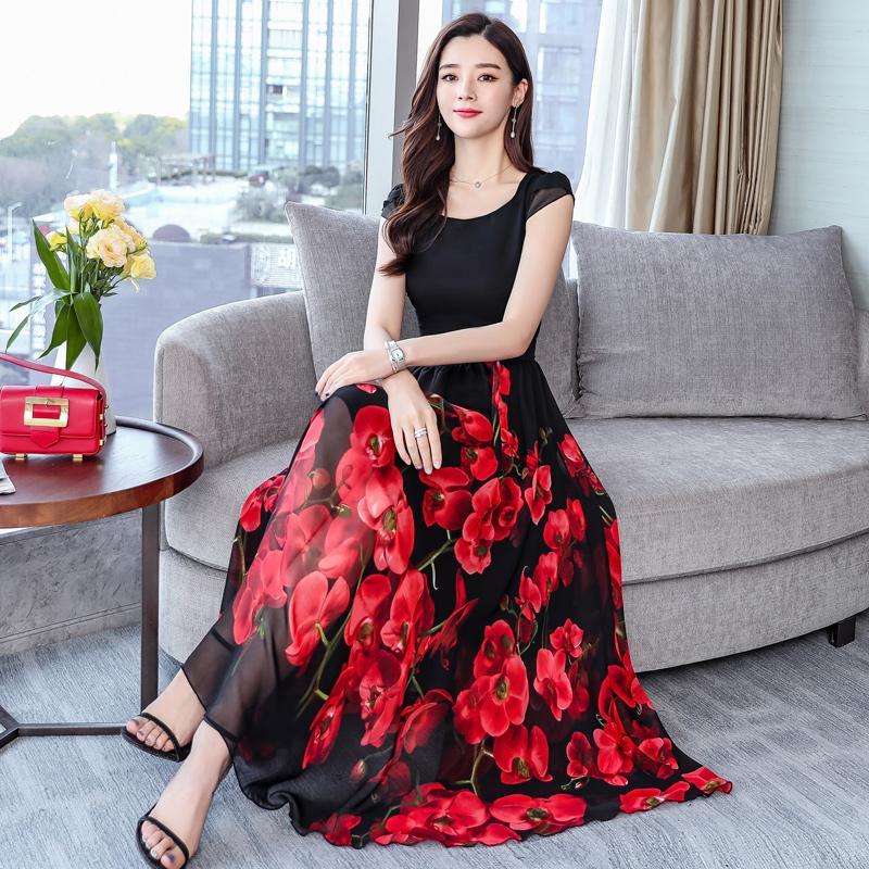 tamaño 4xl 3xl Plus manera de las mujeres vestido de la gasa de la línea A 2019 Verano de flores de impresión elegante señora de la oficina mujer vestido de alta calidad
