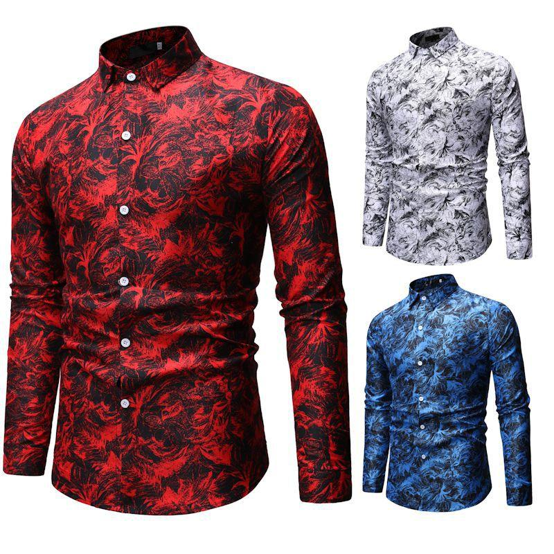2019 Autumn Winter New Fashion Shirts European Size Mens Shirts Casual Long-sleeved Shirt Floral Bottoming Shirt White Red Blue M-3XL