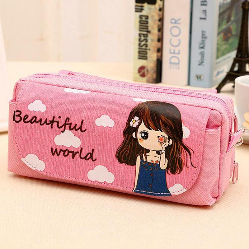 New Cute Beautiful Girl Canvas Pencil Case Kawaii Girl Pencil Bag Case Pouch Student Stationery School Supplies