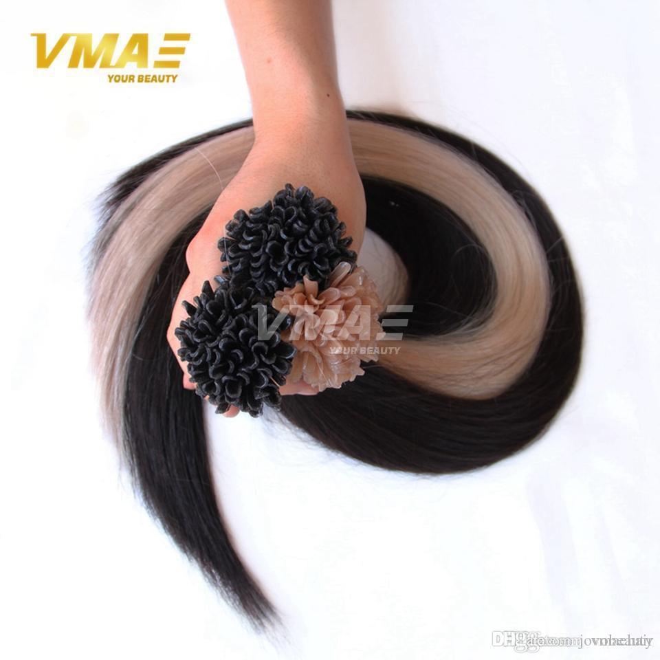 VMAE brasiliano russo 1g Strand 100g Naturale Nero Marrone biondi capelli lisci pre legati cheratina Nail U punta Remy del Virgin di estensioni dei capelli umani