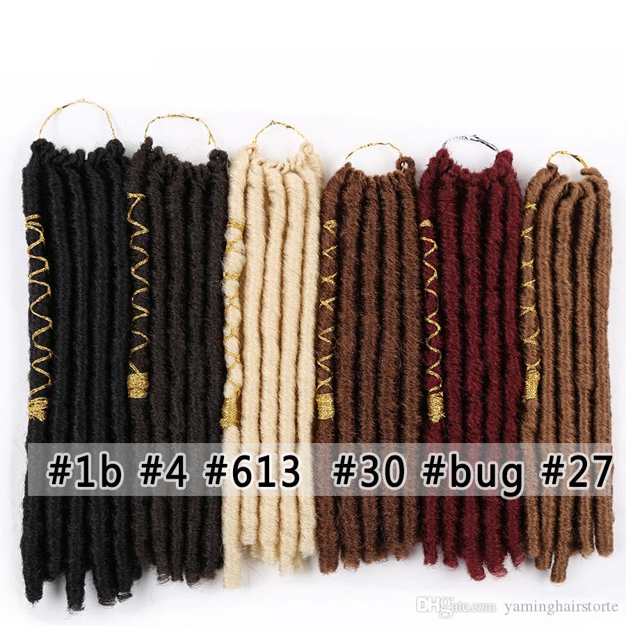 """12"""" Soft Dreadlocks Crochet Tresses cheveux avec la couleur de ligne Déesse Faux Locs synthétique Tressage Extensions cheveux"""