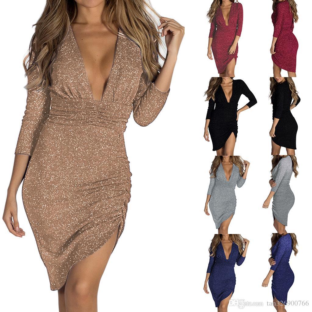 göndermek için 2019 bahar yeni uzun etek Avrupa ve Amerika seksi derin V yaka parlak kristal uzun kollu düzensiz elbise metal renk elbise bedava