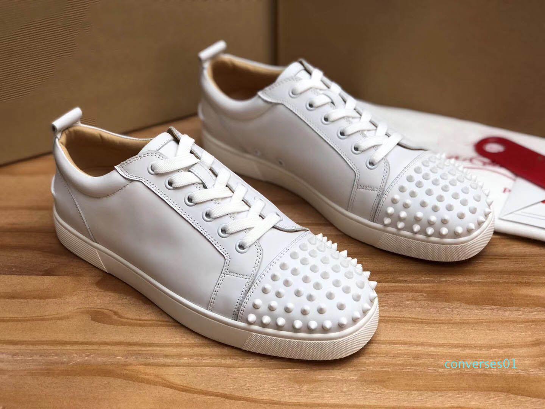 Designer Sneakers Rosso Low Cut Spikes Flats Shoes fondo per gli uomini Donne in pelle delle scarpe da tennis casuali con sacchetto di polvere 01co