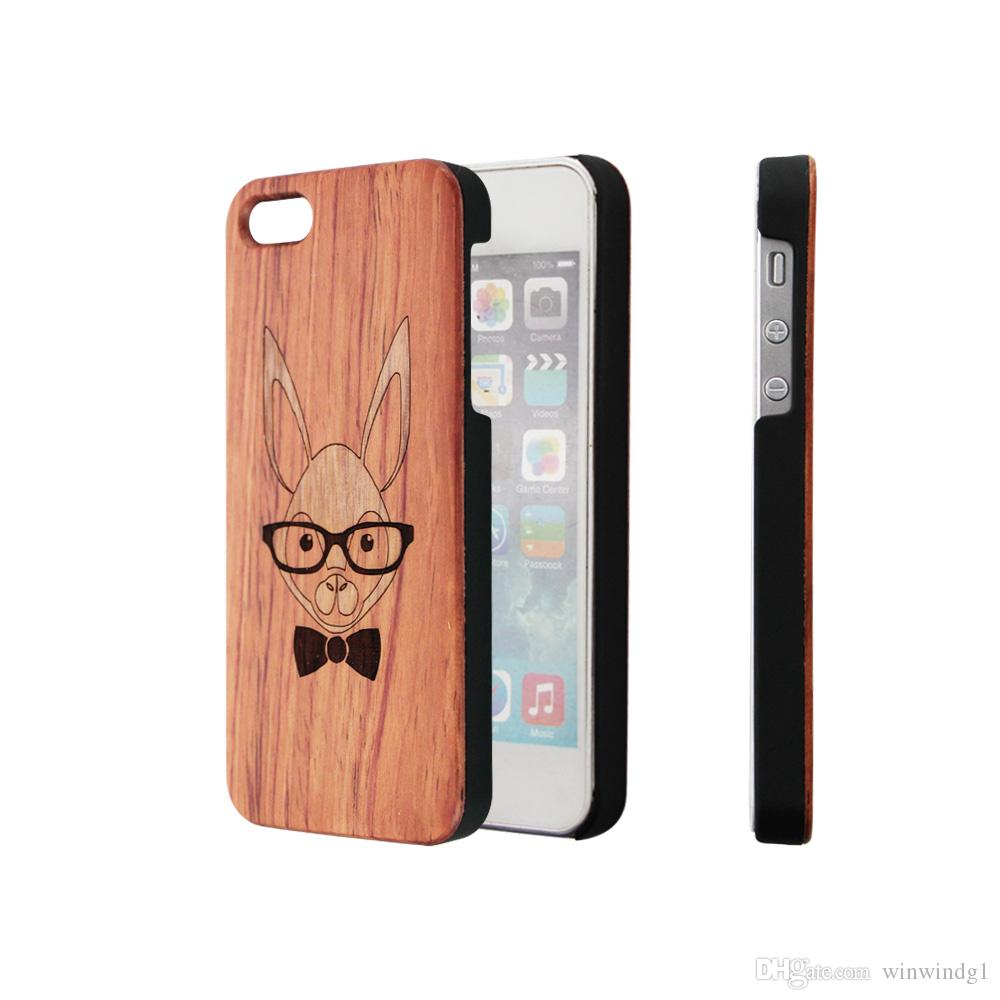 Cute Animals Design Rosewood Wooden Cell Phone Cases For iPhone 6 7 8 X XR XS 11 Pro Max